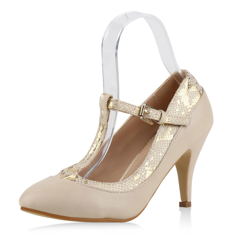 c58b5c454dbd1d napoli-fashion Damen Pumps Mary Janes Spangenpumps High Heels T-Strap  Veloursleder-Optik Schuhe Stiletto Abendschuhe Abiball Jennika 40 EU