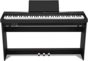 Donner DEP-10 Beginner Digital Piano 88 Key Full Size Semi Weighted Keyboard, Portable Electric Piano With Furniture Stand/Triple Pedals/Power Supply