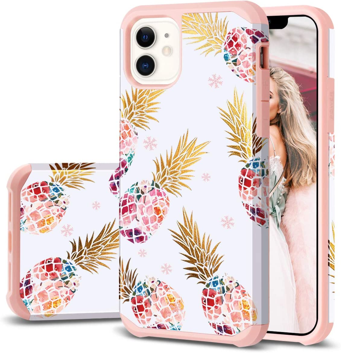 iPhone 11 Case, iPhone 11 Case Pineapple, Fingic Slim Floral Pineapple Case Hard PC Soft Rubber Anti-Scratch Shockproof Protective Skin Cover for iPhone 11 6.1 Inch (2019), Floral Pineapple/Rose Gold