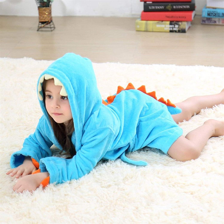 MizHome Little Boys Girls Plush Soft Hooded Dino Bath Robes Bathrobe Theme Party Costume
