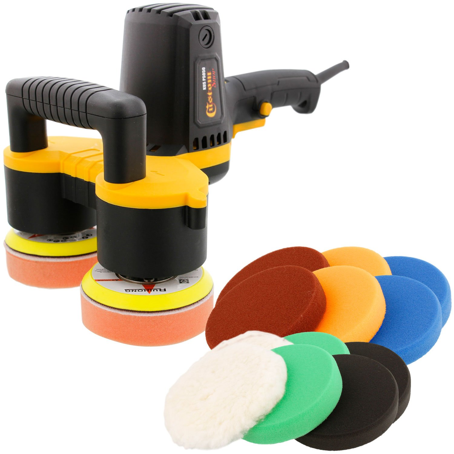 Custom Shop 4'' Dual Head Variable Speed Random Orbit Dual-Action Polisher with a 12 Pad Buffing and Polishing Kit - Buff, Polish & Detail Car Auto Paint