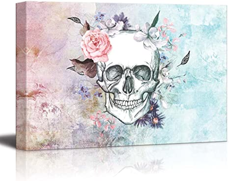 Amazon Com Wall26 Sketched Skull With A Flower Crown On A Vintage Styled Background Canvas Art Home Art 16x24 Inches Posters Prints