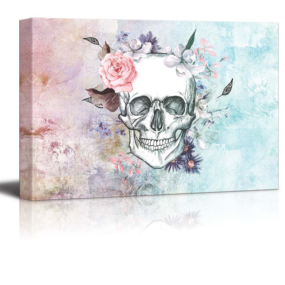 Sketched Skull With A Flower Crown On A Vintage Styled Background