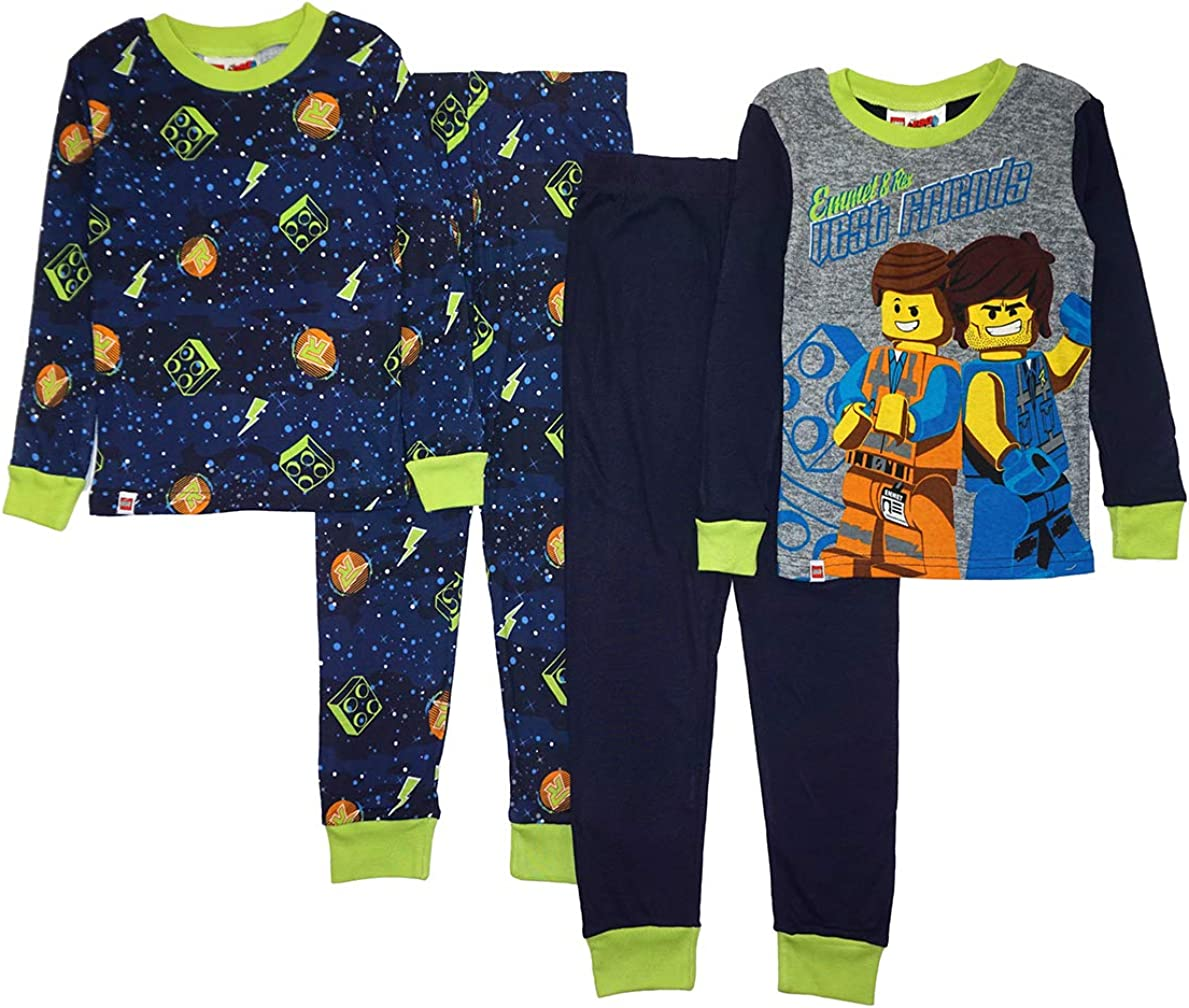 LEGO Ninjago Boys Pajama Set Long Pant,Glow in the Dark 4 Piece PJ Set Long Sleeve