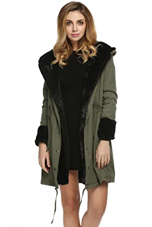 Hufcor Womens Hooded Warm Coats Parkas with Faux Fur Jackets(XS ...