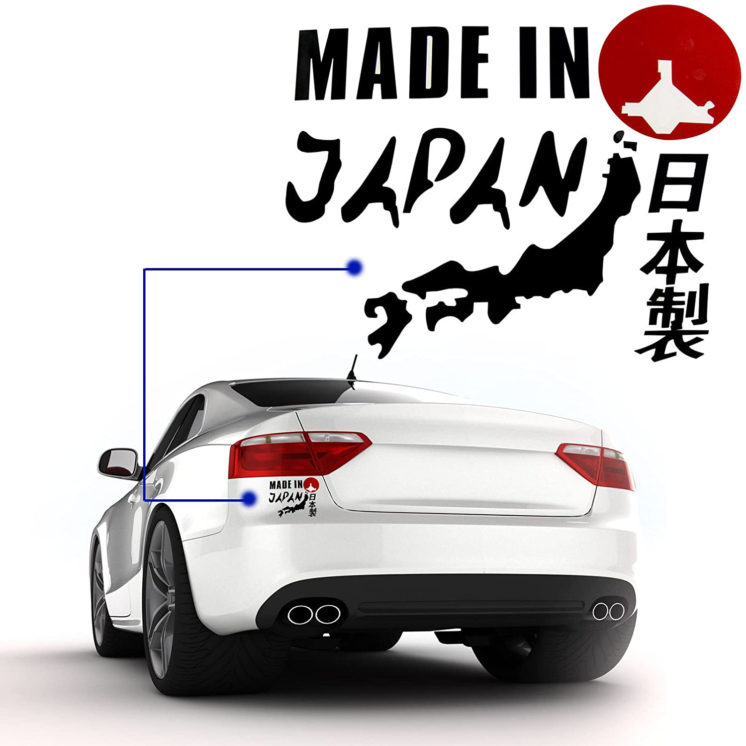X xotic tech 1x made in japan rising sun kanji decal jdm japanese vinyl sticker black nippon map for automotive car laptop notebook funny cool decoration