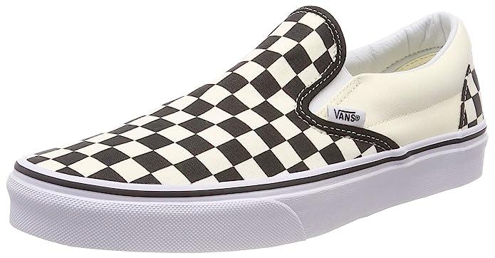 Vans Unisex-Erwachsene Classic Slip-on Low-Top Sneakers Weiß-Schwarz Kariert/Weiß Größe 45