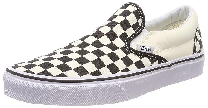 Vans Unisex-Erwachsene Classic Slip-on Low-Top Sneakers Weiß-Schwarz Kariert/Weiß