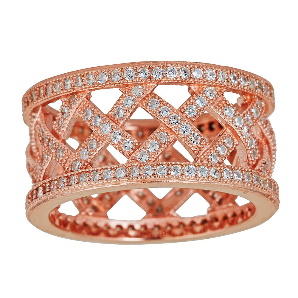 Sterling Silver Rose Cubic Zirconia Pave Basketweave Eternity Band Fashion Ring