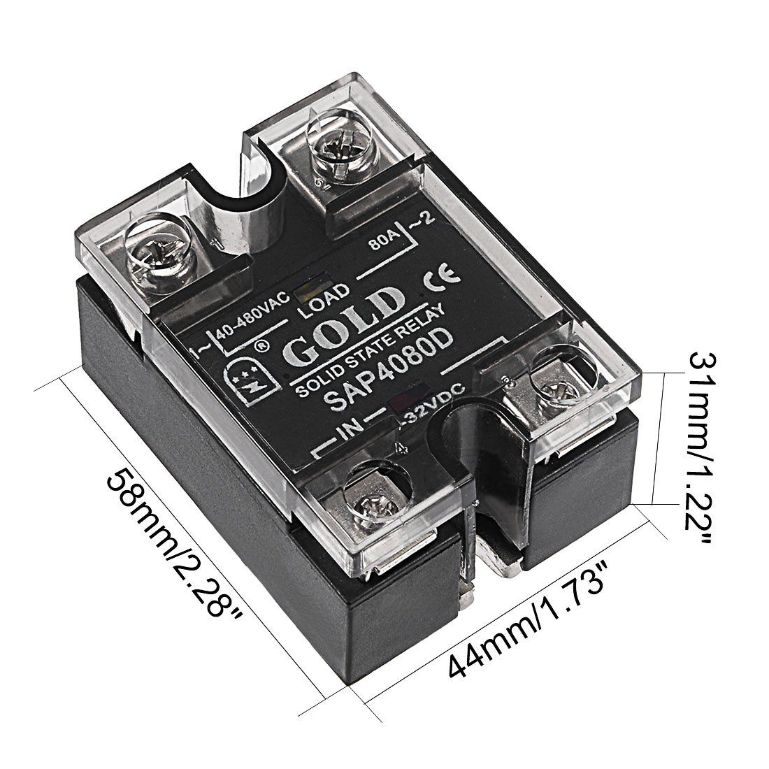 Uxcell Sap4080d 3 32vdc To 40 480vac 80a Single Phase Solid State Relay 220v Ac Module Dc Home Improvement