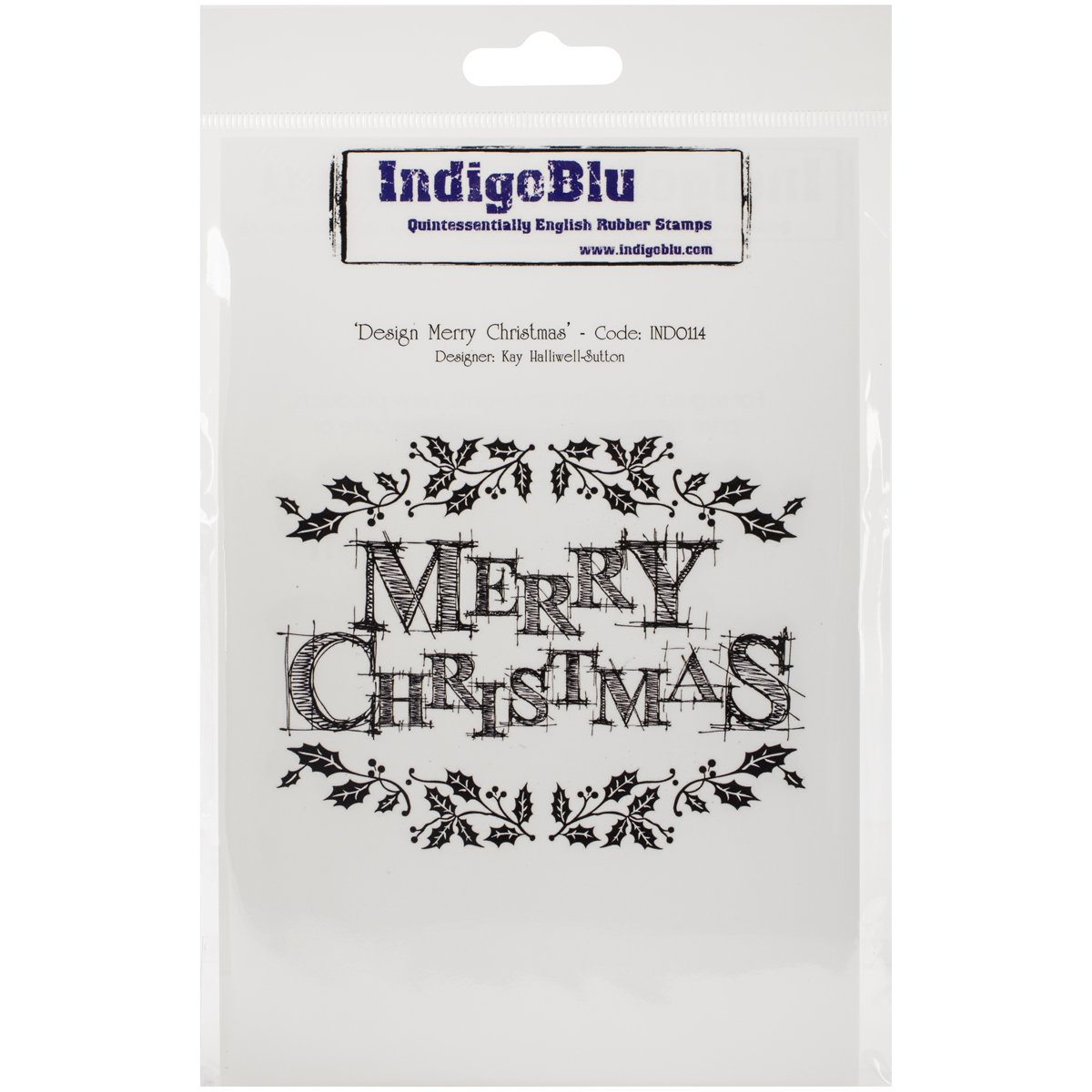 IndigoBlu Cling Mounted Stamp 5X8-Design Merry Christmas