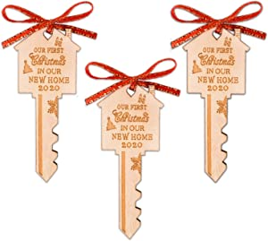 First Christmas in Our New Home Wooden Key Christmas Ornament 2020 for Housewarming, Xmas Tree and Holiday Decoration (3 Pack)