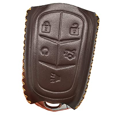 Coolbestda Leather 5Buttons Key Fob Protector Keyless Jacket Holder Cover Skin Jacket Remote Control Bag for 2020 2020 2016 Cadillac CT6 XT5 CTS XTS SRX ATS HYQ2AB HYQ2EB Brown: Automotive