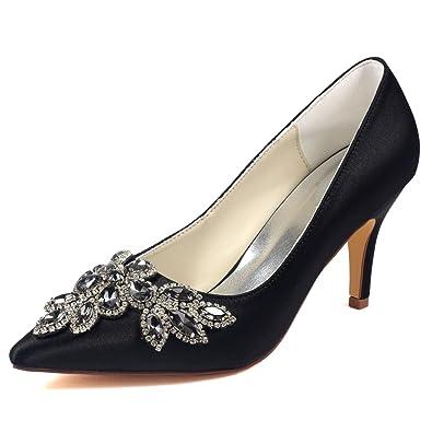a7b4cb75b5c6 Emily Bridal Black Wedding Shoes Pointed Toe Stiletto Rhinestones Imitated  Silk Bride Pump Shoes (EU36