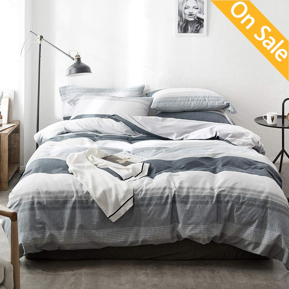 【Latest Arrival】 Comforter Duvet Cover Queen Cotton Stripe Duvet Cover Natural Geometric Comforter Cover Full Grey White Modern Home Bedding Set with Ties for Girls Boys Kids,NO Comforter NO Sheet by AMZTOP