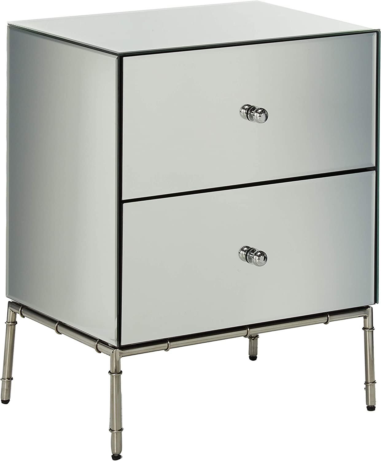 Christopher Knight Home Althea Modern Mirrored Two Drawer Cabinet, Silver