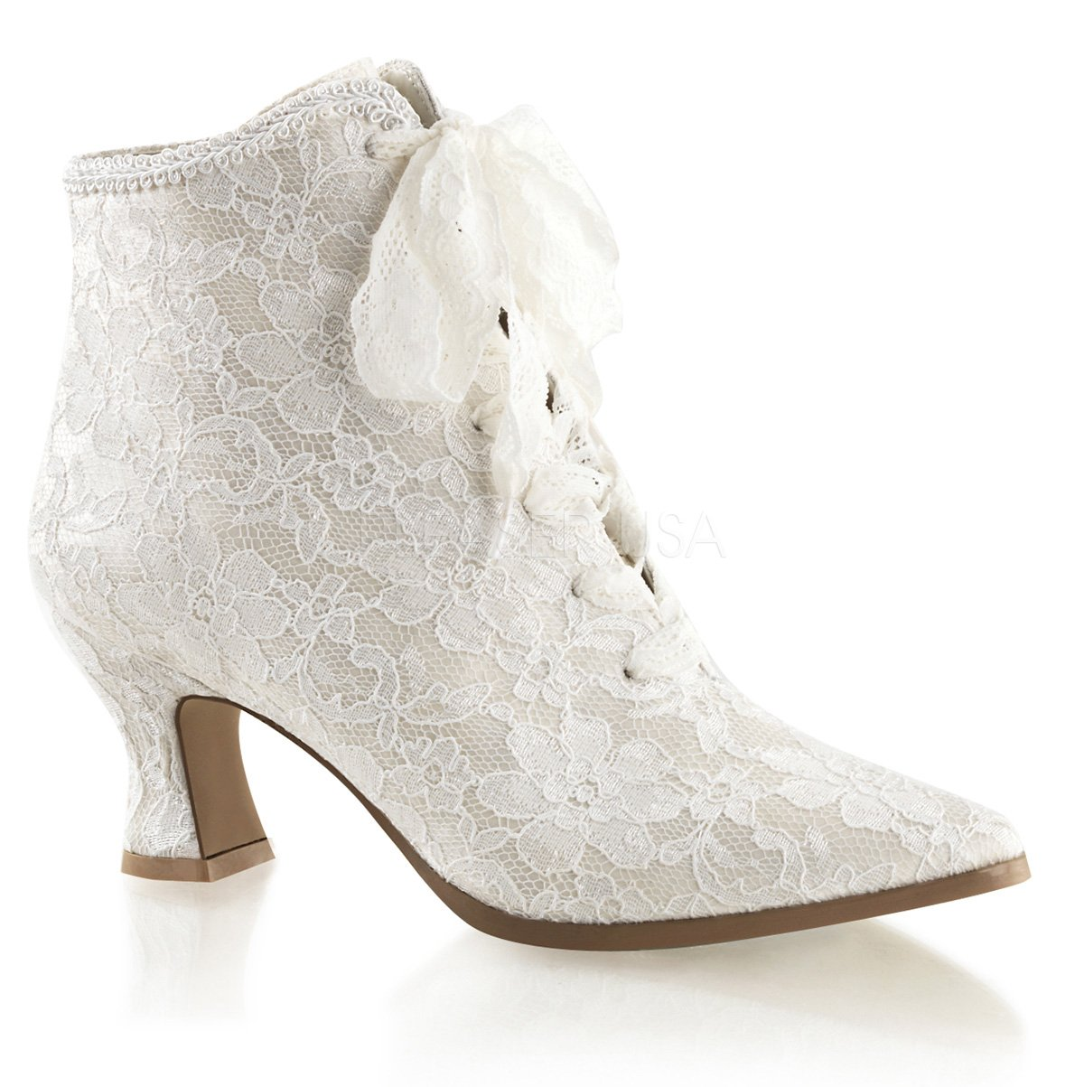 Fabulicious VICTORIAN-30 womens Boots B074F49BD1 6 B(M) US|Ivory Satin-lace