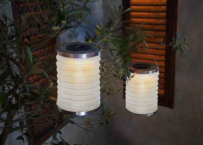 Serie 2 farolillo LED Solar, lámpara de jardín (Metal y plástico, iluminación automática en oscuridad, panel solar para LED integrado, botón On/Off, para exteriores, incluye una pila: Amazon.es: Iluminación