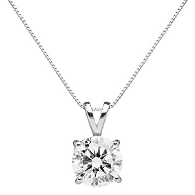 Amazon everyday elegance 14k solid white gold pendant everyday elegance 14k solid white gold pendant necklace round cut cubic zirconia solitaire mozeypictures