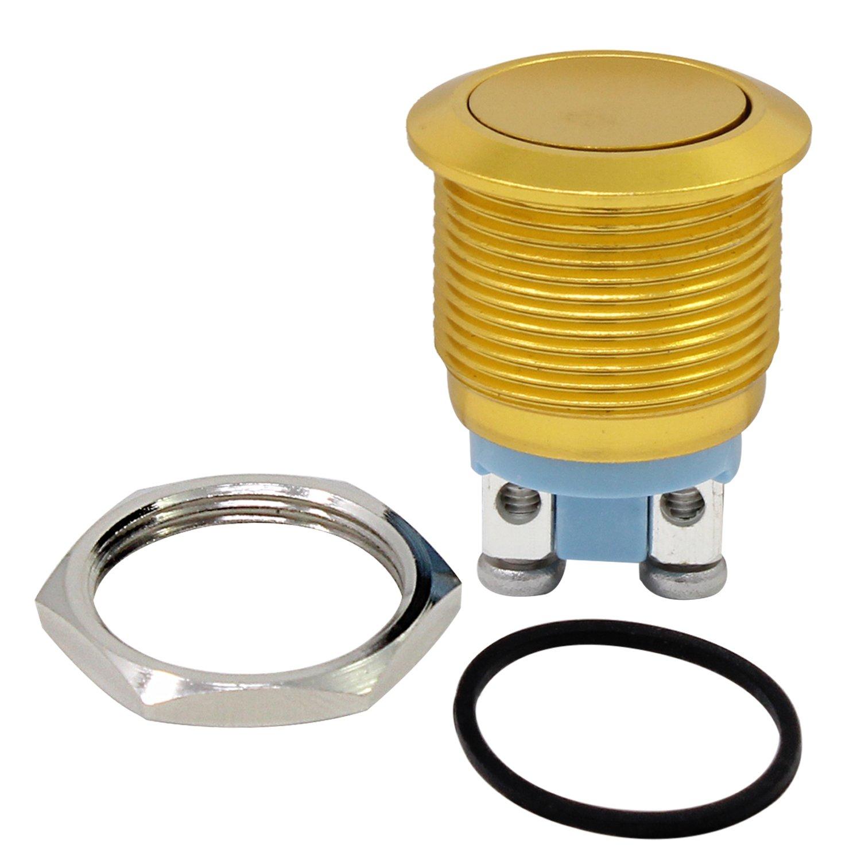 PsmGoods® 19mm 12V imperméable à l'eau Metal Circle verrouillage bouton poussoir momentané Switch Switch (vert)