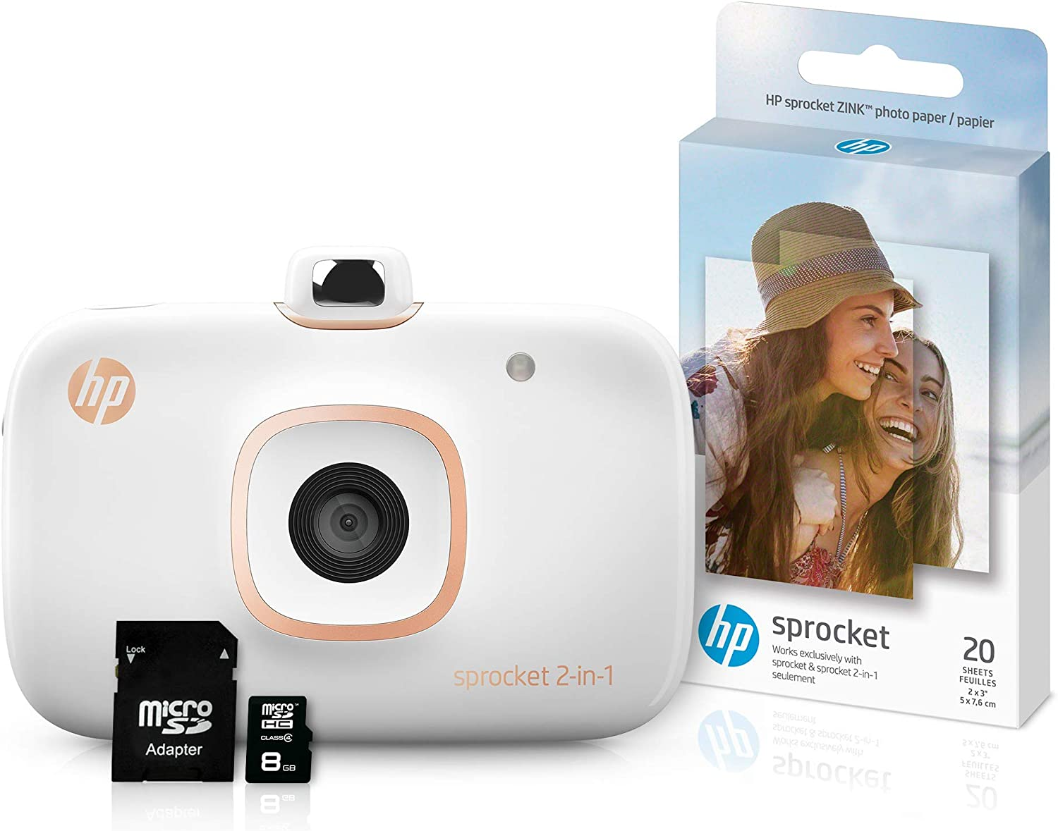 HP Sprocket 2-in-1 Portable Photo Printer & Instant Camera Bundle with 8GB MicroSD Card and Zink Photo Paper - White (5MS95A) (Renewed)