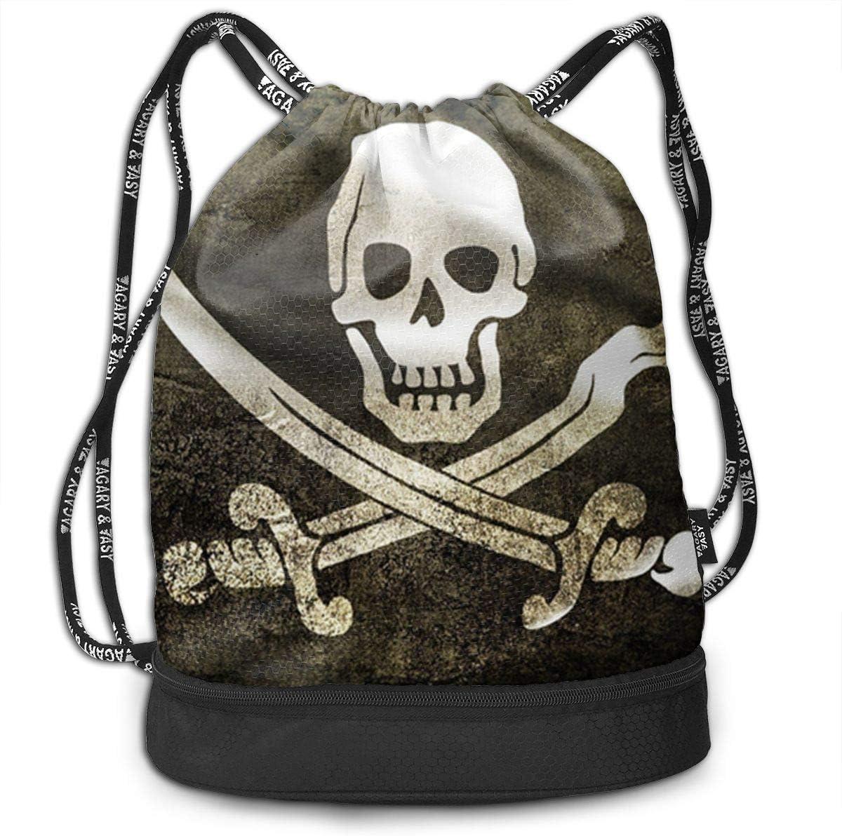 HUOPR5Q Pirates Drawstring Backpack Sport Gym Sack Shoulder Bulk Bag Dance Bag for School Travel