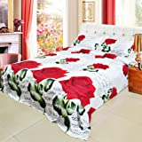 Anself 4pcs 3D Printed Bedding Comforter Set Bedclothes Red Rose in Full Bloom Queen/King Size Duvet Cover + Bed Sheet + 2 Pillowcases