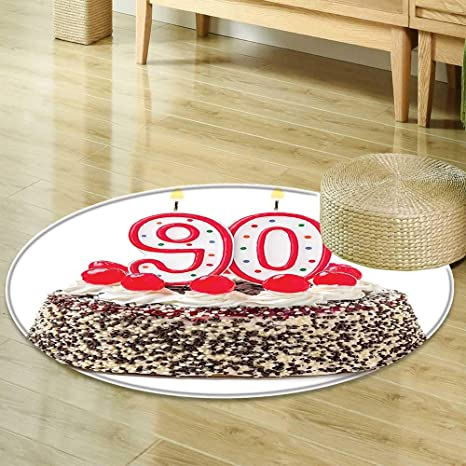 Round Rug Kid Carpet 90th Birthday Decorations Cake With Cherries Burning Candles Number Ninety Red