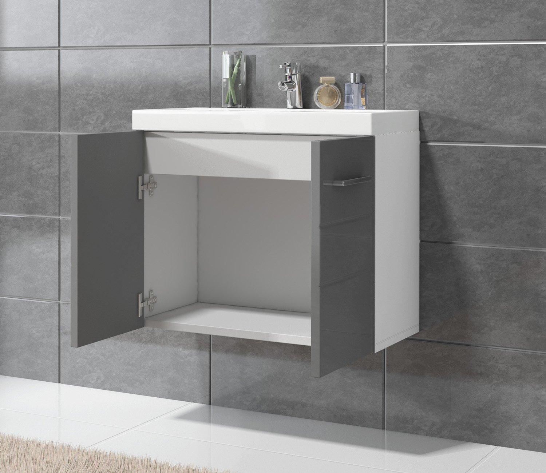 Unterschrank Schrank Waschbecken Waschtisch Badplaats B.V Badezimmer Barm/öbel Toledo 01 60 x 35 cm Hochglanz Grau