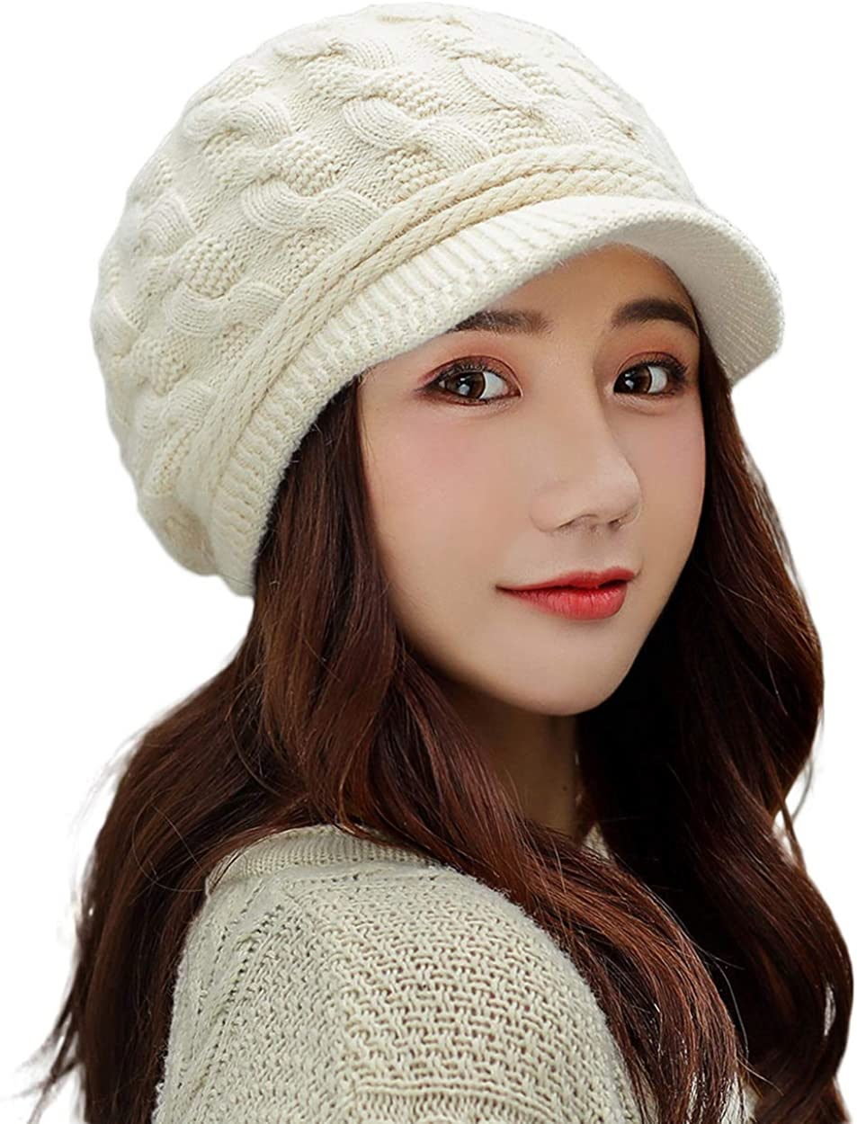 Pyrafox Knit Visor Winter Beanie Hat /& Ear Flap /& Fleece Scarf Sets Face Neck Cover