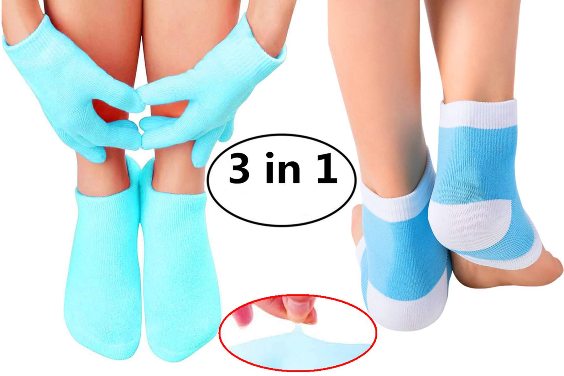 Gel Moisturizing Spa Gloves and Socks Heel Socks for Dry Hands and Feet - Fast Cracked Heel Repair and Simple Foot Skin Care with Gel Foot Sleeves for Women and Men Blue