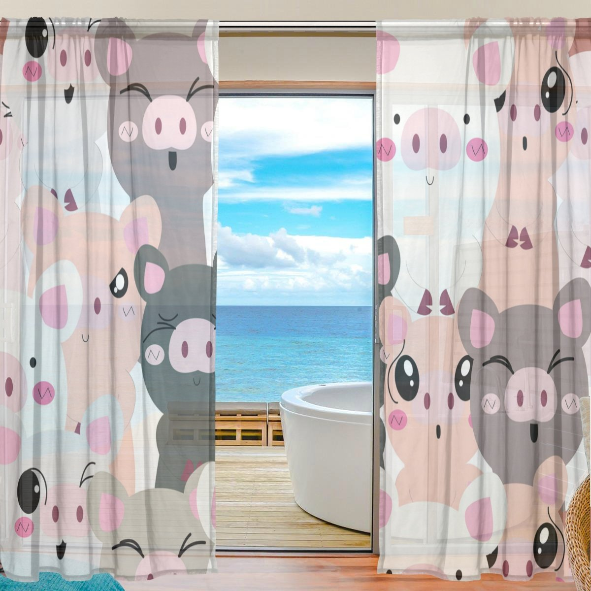 SEULIFE Window Sheer Curtain, Cute Pig Animal Pattern Voile Curtain Drapes for Door Kitchen Living Room Bedroom 55x78 inches 2 Panels g3222783p113c127s169