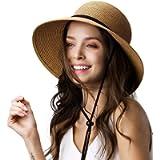 FURTALK Womens Wide Brim Sun Hat with Wind Lanyard UPF Summer Straw Sun Hats for Women