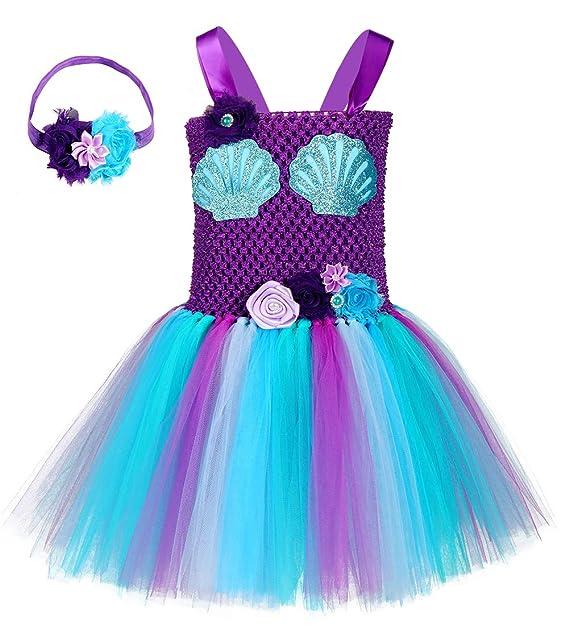 Amazon.com: Disfraz de sirena de cumpleaños con tutú para ...
