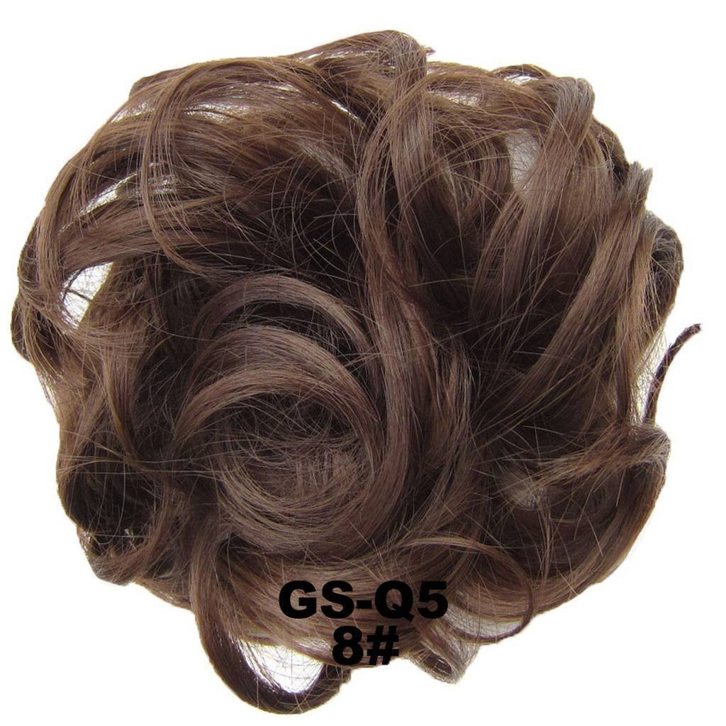 PrettyWit Hair Bun Updo Extensions Chignons Hair Piece Wig Scrunchy Scrunchie Hairpiece Ribbon Ponytail Bridal Drawstring-Gray