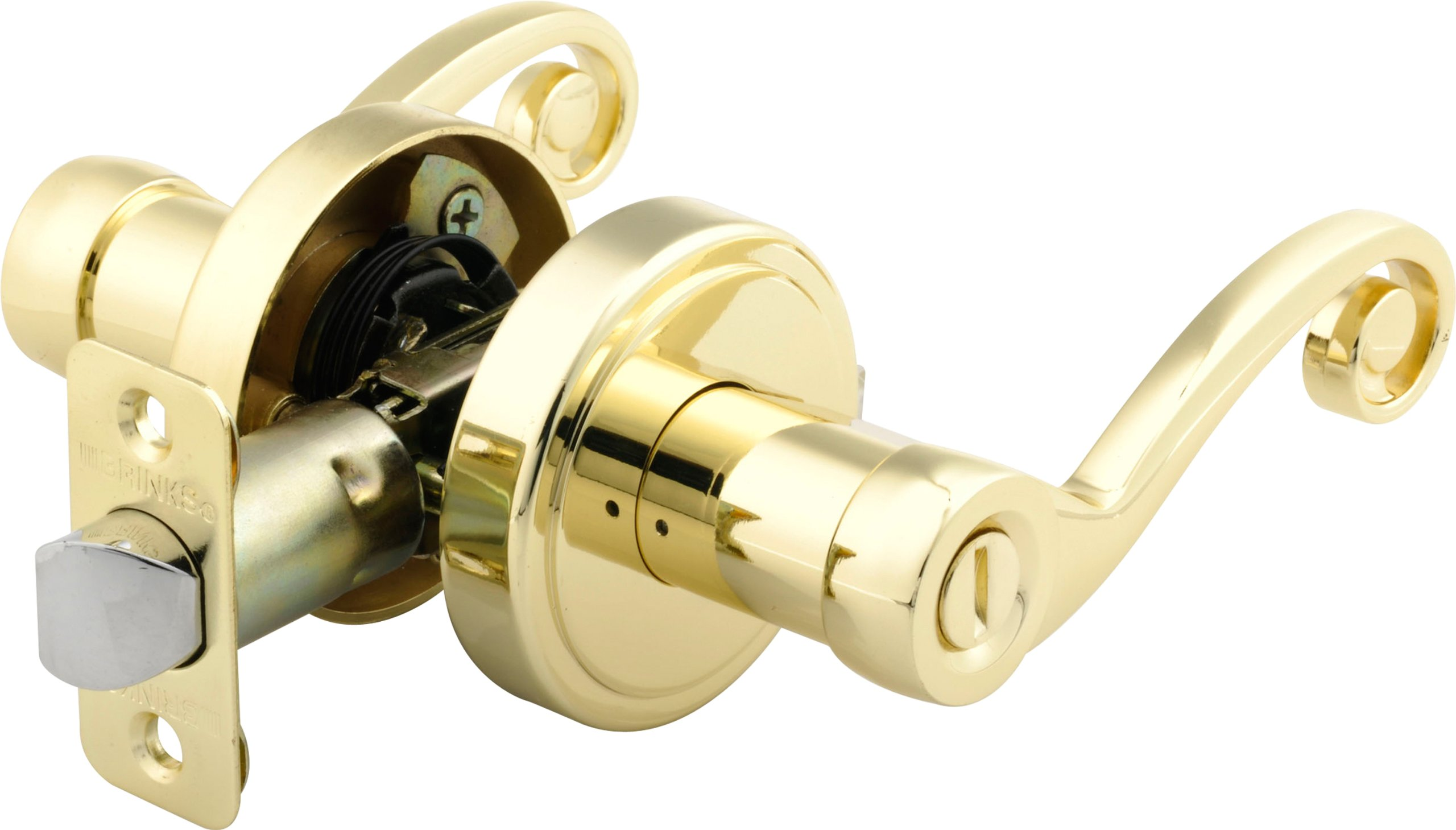 Brinks 2740-105 Scroll Style Lever Door Knob with Privacy Key for Bedroom and Bath, Polished Brass