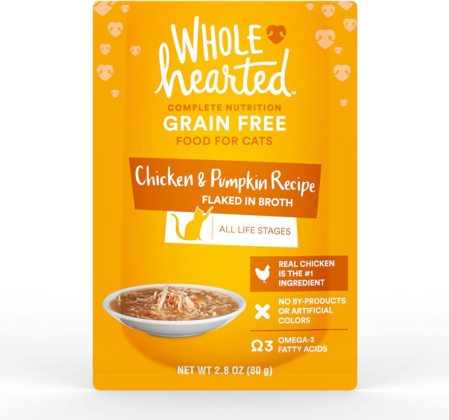 WholeHearted Grain Free Chicken & Pumpkin Recipe Flaked in Broth Wet Cat Food, 2.8 oz., Case of 12, 12 X 2.8 OZ