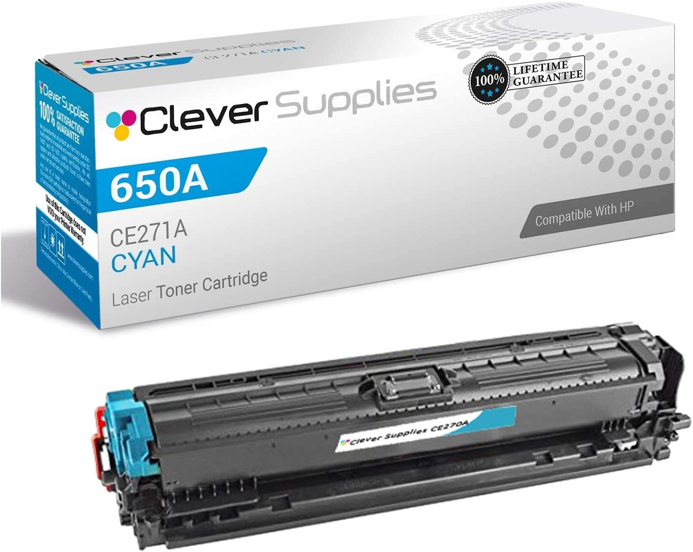 Cyan Compatible High Yield 650A CE271A Toner Cartridge use for HP Color Laserjet CP5525 CP5525dn CP5525n CP5525xh M750dn M750n M750xh Series Printer 2-Pack