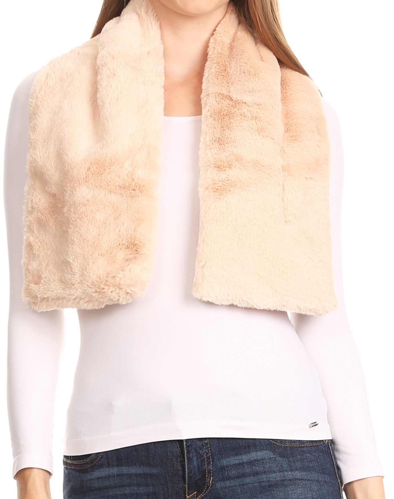 Sakkas 16112 - Malen Long Rectangle Faux Fur Warm Soft Furry Wrap Around Loophole Scarf - Beige - OS