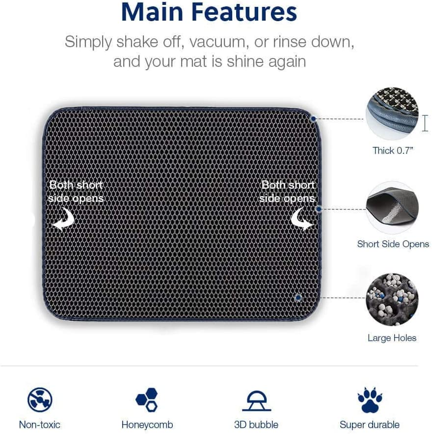 HUDNNFO Non-slip Cat Litter Mat Litter Tray Mat Double Layer Honeycomb Large Holes Design Waterproof EVA Material BPA Free Color : Black, Size : 40x50CM Soft on Paws and Washable for Cats