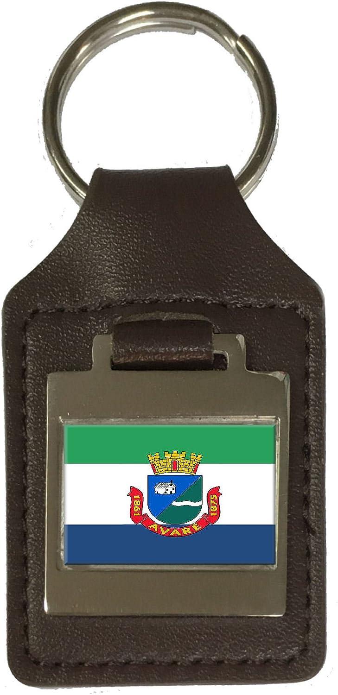 Leather Keyring Engraved Avare City Sao Paulo State Flag