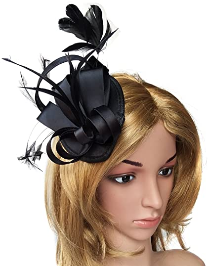 115fc775779 Fascinator Hats for Women Feather Cocktail Party Hats Bridal Kentucky Derby  Headband (Satin Black)
