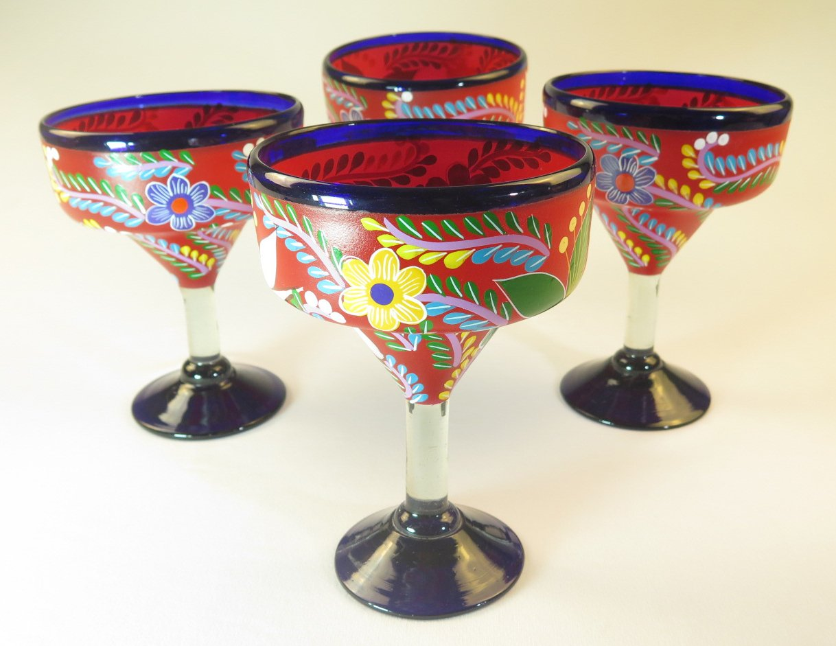 Mexican Margarita Glass, Red, Hand Painted Flowers, Mixed, 14 Oz, Set of 4