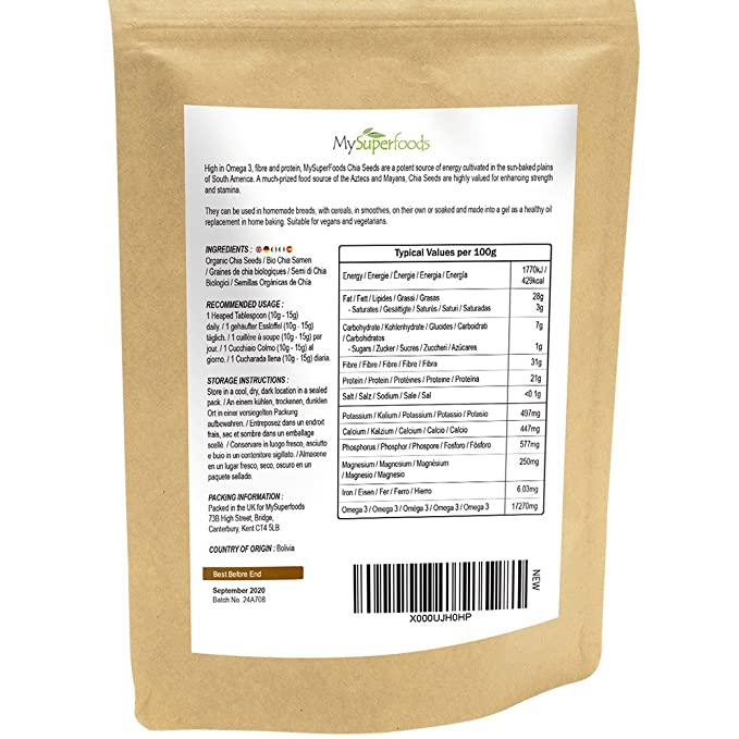 Semillas De Chía Orgánicas (Salvia Hispanica), 1KG, MySuperFoods, Repletas de nutrientes, Alta en ácidos grasos, certificado como producto orgánico