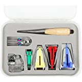 Wisehands 16 Pcs Bias Tape Maker Fold Bias Tape Set with 4 Different Sizes and 12 Tools for Sewing & Quilting Awl