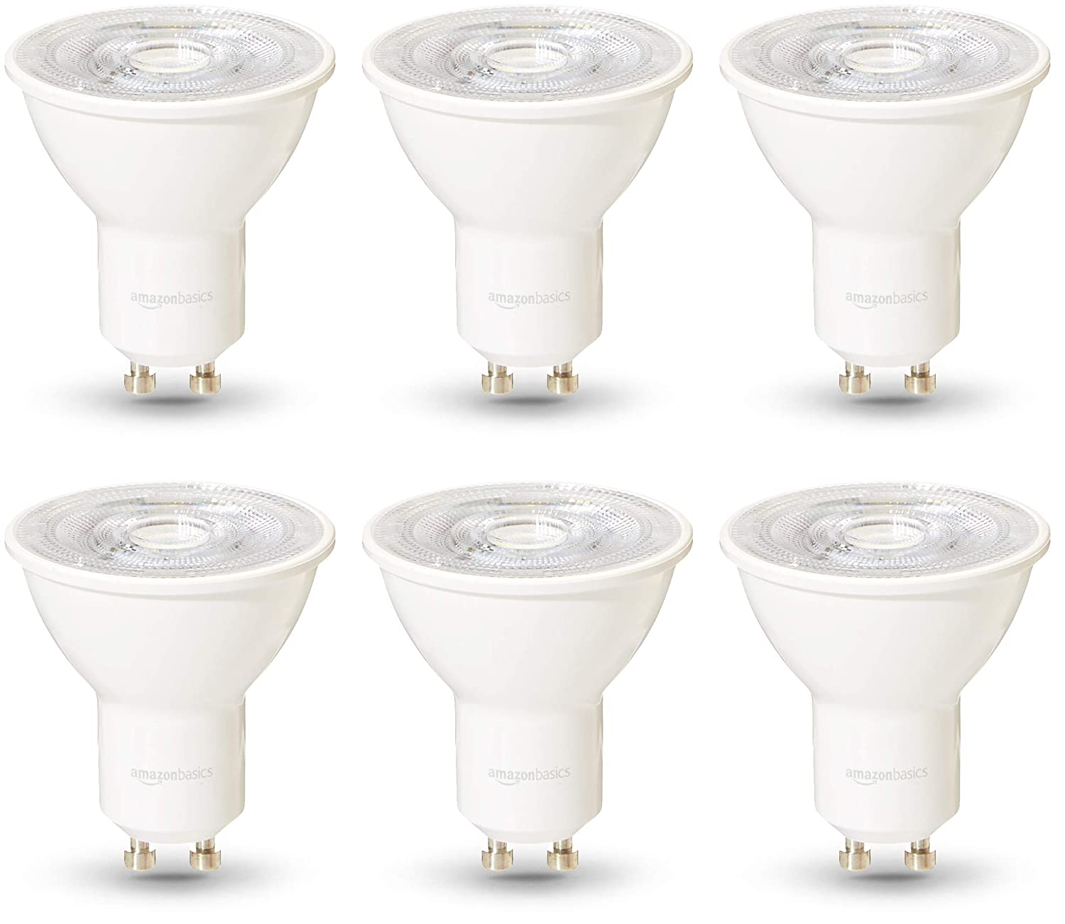Dimmable 50W equivalent Pack of 6 Basics Professional LED GU10 Spotlight Bulb Warm White