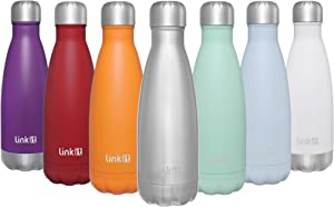 Linkit 12oz Stainless Steel Vacuum Insulated Water Bottle - Double Wall Sports Water Bottle - Cola Shape Leakproof Thermal Flask - Stainless