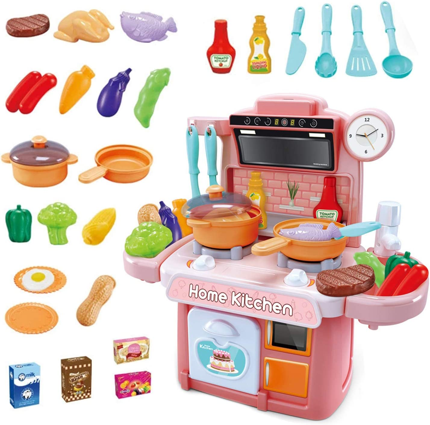 GuDoQi Play Kitchen Accessories Toys for Kids, with Light and Boiled Water Sound Effect and Vegetables and Food, Funny Cooking Play Toy for Kids Toddlers