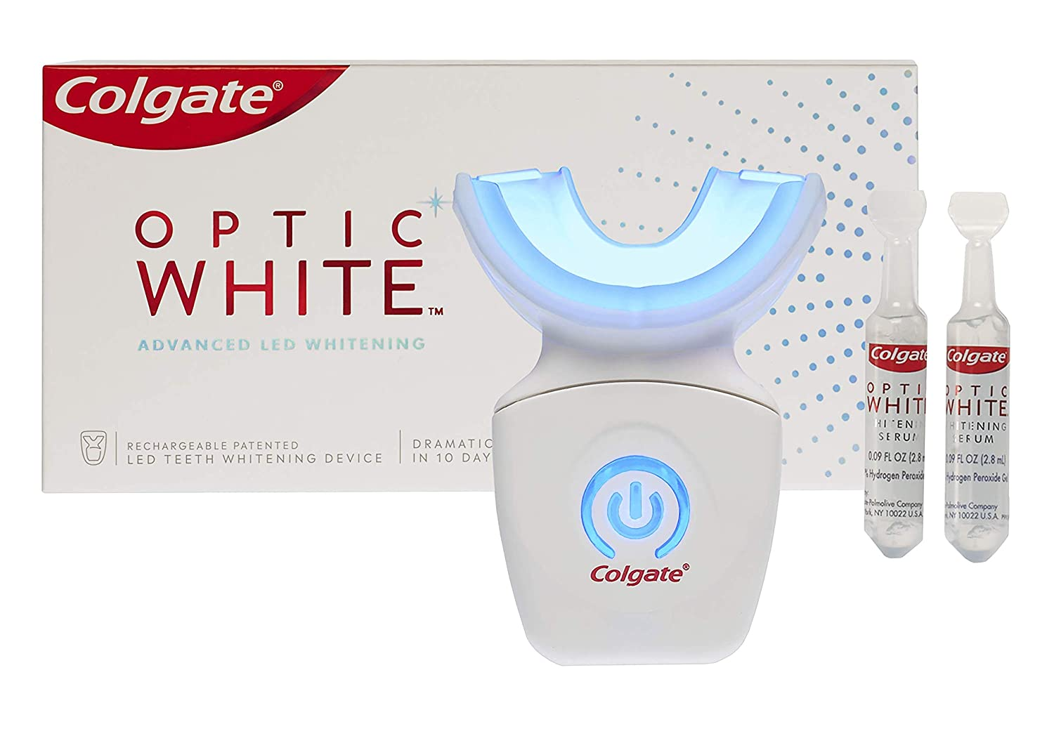 Amazon Com Colgate Optic White At Home Teeth Whitening Kit Led Blue Light Tray 10 Day Treatment 9 Hydrogen Peroxide Whitening Gel Health Personal Care