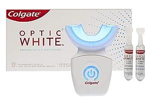 Colgate Optic White At Home Teeth Whitening Kit, LED Blue Light Tray, 10 Day Treatment, 9% Hydrogen Peroxide Whitening Gel